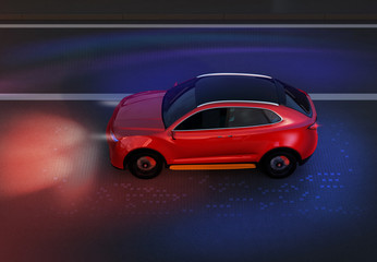 Side view of red SUV driving on the road with graphic mesh pattern retouched. night traffic.  3D rendering image.