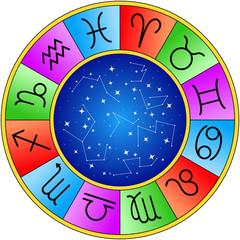 wheel of horoscope signs or symbols isolated