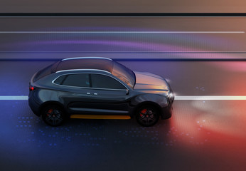 Side view of black SUV driving on the road with graphic mesh pattern retouched. night traffic.  3D rendering image.