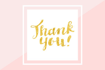 Thank you card, gold glitter hand lettering