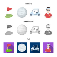 Field with a hole and a flag, a golf ball, a golfer, an electric golf cart.Golf club set collection icons in cartoon,flat,monochrome style vector symbol stock illustration web.