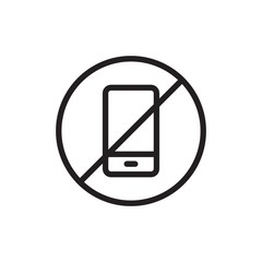 forbidden phone, no phone outline vector icon. Modern simple isolated sign. Pixel perfect vector illustration for logo, website, mobile app and other designs