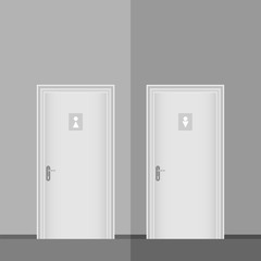 Doors to the female and male toilet. Doors to the toilet in gray.