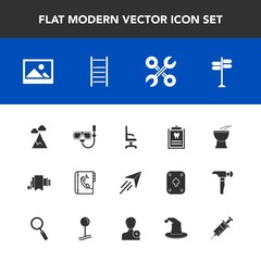 Modern, simple vector icon set with direction, dentistry, interior, home, summer, service, mask, reparation, internet, road, fly, street, paper, snorkel, picture, sky, phone, industrial, art icons