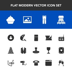 Modern, simple vector icon set with avatar, radio, wine, drink, old, pants, red, doughnut, suit, stamp, fashion, media, sand, art, profile, traffic, boat, fish, cake, white, browser, background icons