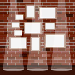 Frames under the picture on a brick wall background. Frame. A set of frames under the picture.