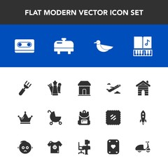 Modern, simple vector icon set with nature, queen, musical, fork, bag, airplane, dinner, animal, business, carriage, spoon, stroller, knife, royal, music, child, school, piece, wildlife, tape icons
