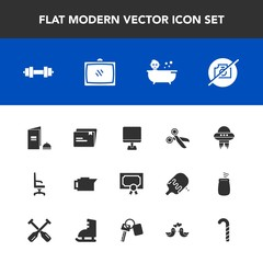 Modern, simple vector icon set with entertainment, gym, drink, caffeine, award, diploma, certificate, space, television, photo, ufo, chair, armchair, picture, technology, no, kid, achievement icons