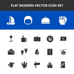 Modern, simple vector icon set with screen, mail, tv, envelope, summer, photography, equipment, restaurant, map, helmet, cake, ship, food, pie, chat, boat, belt, photographer, concept, service icons