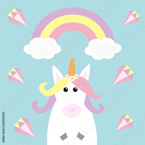Unicorn Holding Rainbow Cloud Diamond Brilliant Stone Kawaii Face