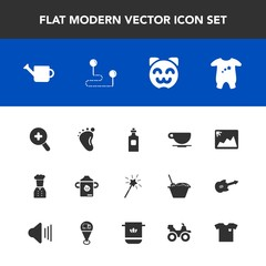 Modern, simple vector icon set with asian, restaurant, cat, nutrition, beverage, can, liquid, small, map, equipment, kitty, plastic, newborn, foot, image, position, bottle, photo, milk, drink icons
