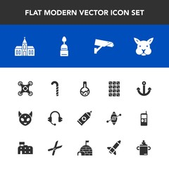 Modern, simple vector icon set with church, camera, cute, security, clean, ufo, music, control, anchor, tool, microphone, alien, food, laboratory, space, safety, health, monster, equipment, care icons