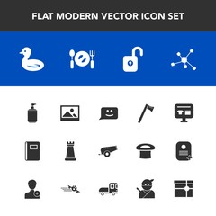 Modern, simple vector icon set with ecommerce, notebook, frame, soap, atom, paper, chemistry, cart, book, smile, wrench, face, chat, technology, animal, sky, sale, page, king, wildlife, weapon icons