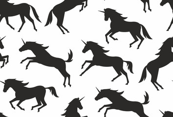 Seamless pattern with unicorns silhouettes. flat style. isolated on white background