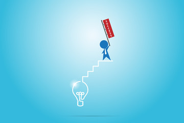 businessman holding success flag on the stair of light bulb, success and business concept