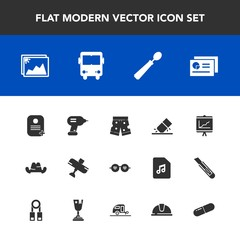 Modern, simple vector icon set with pill, dinner, medicine, cap, report, construction, kitchen, bus, document, spoon, white, aircraft, drill, chart, frame, style, business, wear, transportation icons
