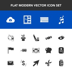 Modern, simple vector icon set with transport, flag, chair, match, table, home, magic, beautiful, cloud, competition, jar, interior, cabinet, snack, candy, equipment, web, cheeseburger, music icons