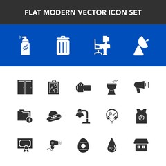 Modern, simple vector icon set with work, decoration, ufo, radio, folder, space, file, trash, garbage, abstract, door, antenna, megaphone, speaker, camera, music, lamp, picture, percussion, home icons