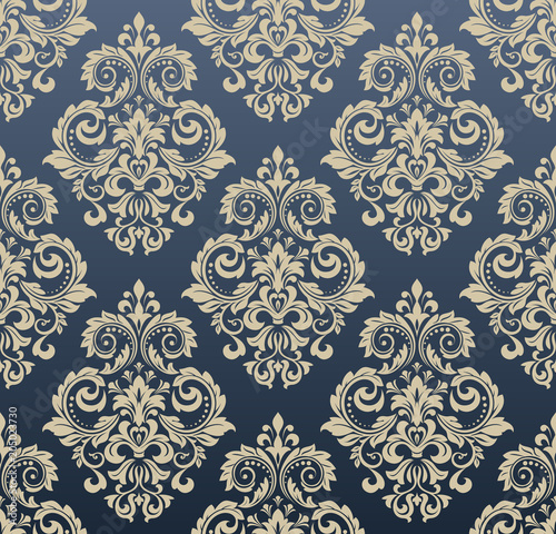 Vintage Wallpaper In The Baroque Style Seamless Vector Background Blue And