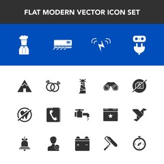 Modern, simple vector icon set with sea, ecology, electricity, faucet, conditioner, plug, chief, ring, light, internet, equipment, healthy, ocean, wedding, diamond, binocular, health, bathroom icons