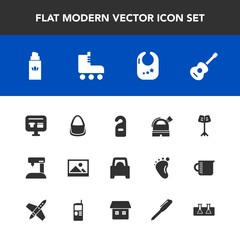 Modern, simple vector icon set with fashion, music, leisure, equipment, orchestra, skating, sport, privacy, background, science, machine, baby, toy, sewing, perfume, observatory, cart, beauty icons