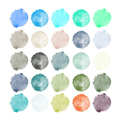 Set of colorful watercolor high resolution hand painted round shapes, stains, circles, blobs isolated on white. Illustration for artistic design.