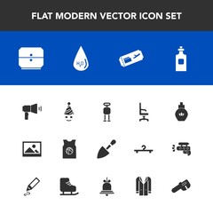 Modern, simple vector icon set with interior, birthday, air, aroma, armchair, liquid, repair, glass, bottle, old, picture, frame, celebration, home, fun, technology, construction, ticket, drawer icons
