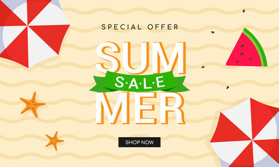Summer sale banner vector illustration. top view of sandy beach background