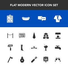 Modern, simple vector icon set with image, machine, drink, hotdog, chinese, document, hanger, bathrobe, kitchen, temple, glass, pan, coffee, dinner, asia, sausage, speech, meat, wine, business icons