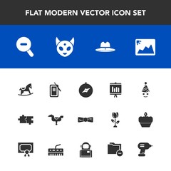 Modern, simple vector icon set with baby, photo, celebration, web, report, map, image, puzzle, business, north, ufo, elegance, toy, space, tool, kid, alien, japan, suzuri, compass, fun, annual icons