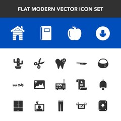 Modern, simple vector icon set with health, business, real, apple, object, cut, backpack, book, paper, cactus, plant, healthy, knife, human, photo, school, rucksack, dental, radio, fresh, media icons