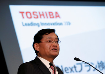 Toshiba Corp's CEO Nobuaki Kurumatani attends a news conference in Tokyo