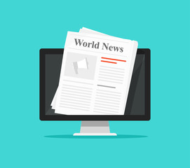 Newspaper on computer screen vector illustration, flat cartoon pc display with world news magazine on electronic device isolated