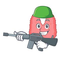 Army thyroid character cartoon style