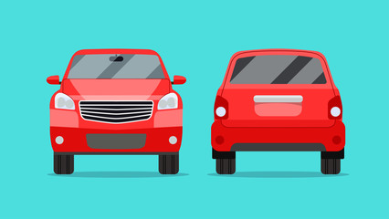 Red car two angle set. Car  front and rear view. Vector flat illustration