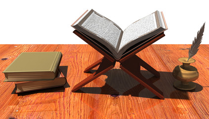 Buch auf Board mit weiteren Büchern und Tintenfass und Feder