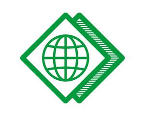 green globe earth rhombus image vector icon logo symbol