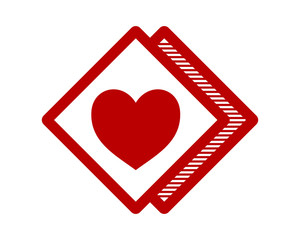red heart love rhombus image vector symbol logo icon