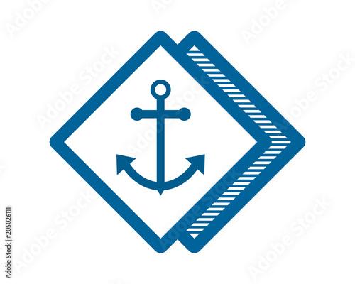 Blue Anchor Port Dock Sailor Marine Navy Image Vector Icon Logo