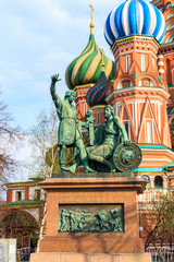 Monument to Minin and Pozharsky in Saint Basil's Cathedral at Red Square at Moscow.