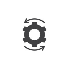 Cog gear and rotation arrows vector icon. filled flat sign for mobile concept and web design. Settings simple solid icon. Symbol, logo illustration. Pixel perfect vector graphics