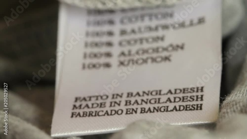 Close up - Made in Bangladesh on a clothes marker