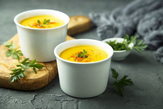 Pumpkin soup with chilli pepper