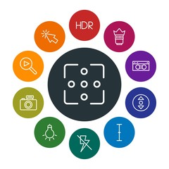 mobile, video, photos, cursors Infographic Colorful outline Icons Set. Contains such Icons as  lens,  media,  light,  scroll,  button,  mouse, lightning,  off and more. Fully Editable. Pixel Perfect