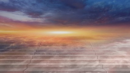 Stairway to heaven . Way to heaven . Steps leading up to the sun.  Way to God .  bright light from heaven .  Religious background  . Beautiful sky . Sunrise . Light from sky