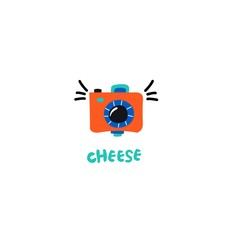 "Cartoon camera and inscription: ""cheese"" - funy illustration for banner or sticker."