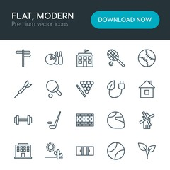 Modern Simple Set of sports, nature, buildings Vector outline Icons. Contains such Icons as  energy,  summer,  dry,  direction,  frame,  pin and more on white background. Fully Editable. Pixel Perfect