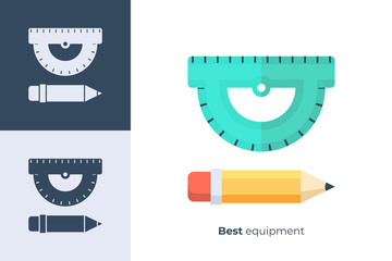 Vector icon of school pencil and ruler in flat style.