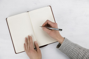 Woman writing in a blank open diary, notebook or journal with a ballpoint pen in a communications and business concept in a close up view on her hands on white