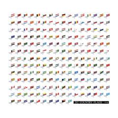 World 3d flags set. Vector illustration 10eps